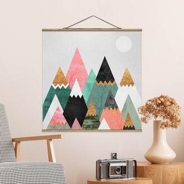 Foto su tessuto da parete con bastone - Elisabeth Fredriksson - Triangolari Monti con suggerimenti d'oro - Quadrato 1:1