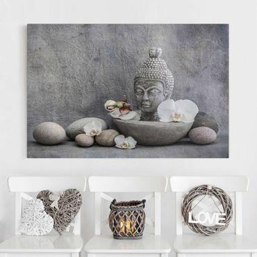 Stampa su tela - Zen Buddha, orchidee e pietre - Orizzontale 2:3