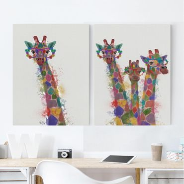 Stampa su tela - Arcobaleno Splash Giraffe Set I - Verticale 4:3