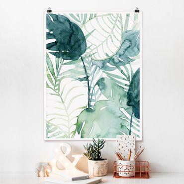 Poster - fronde di palma in acquerello II - Verticale 4:3