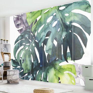 Tenda scorrevole set - Foglie tropicali - Monstera