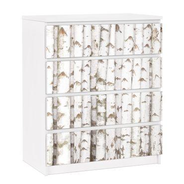 Carta adesiva per mobili IKEA - Malm Cassettiera 4xCassetti - No.YK15 birch wall