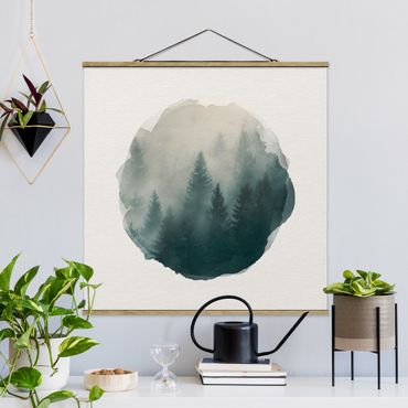 Foto su tessuto da parete con bastone - Acquarelli - foreste di conifere in caso di nebbia - Quadrato 1:1