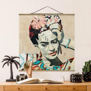 Foto su tessuto da parete con bastone - Frida Kahlo - Collage No.1 - Quadrato 1:1