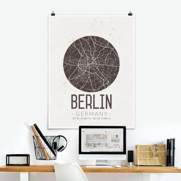 Poster - Mappa Berlino - Retro - Verticale 4:3