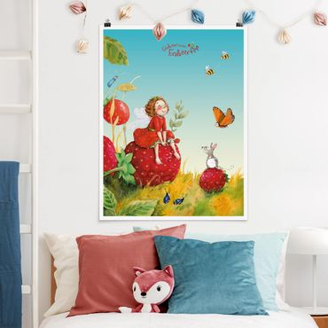 Poster - Strawberry Coniglio Erdbeerfee - Enchanting - Verticale 4:3