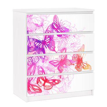 Carta adesiva per mobili IKEA - Malm Cassettiera 4xCassetti - Butterfly dream