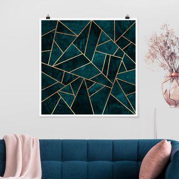 Poster - Scuro Turchese con oro - Quadrato 1:1