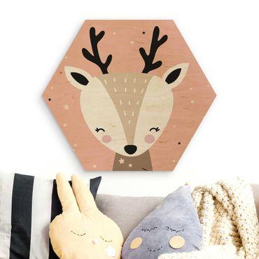 Esagono in legno - felice Deer