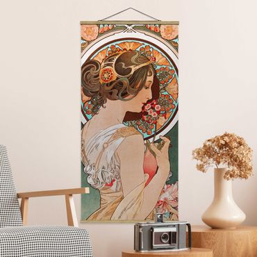 Foto su tessuto da parete con bastone - Alfons Mucha - Primrose - Verticale 2:1