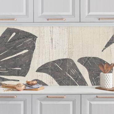 Rivestimento cucina - Foglie di palma grigio chiaro II