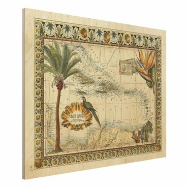 Stampa su legno - Vintage Tropical Mappa West India - Orizzontale 3:4