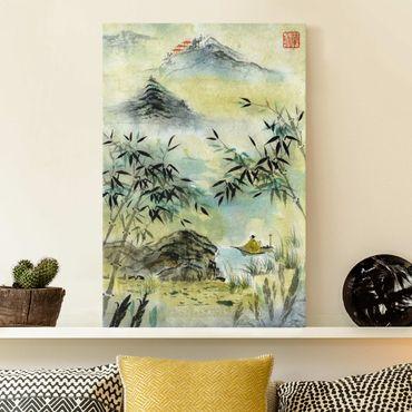 Stampa su tela - Giapponese disegno ad acquerello Bamboo Forest - Verticale 3:2