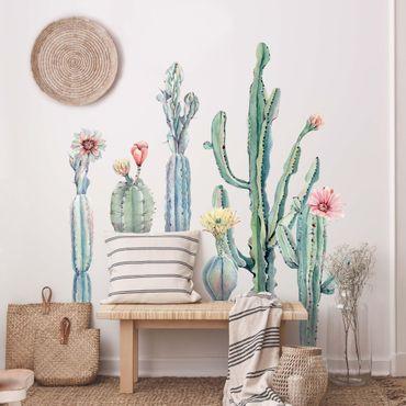Adesivo murale - Acquerello Cactus Flower Set XXL