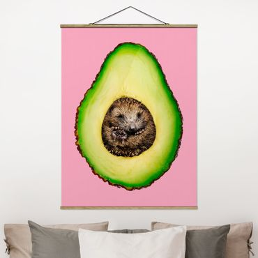 Foto su tessuto da parete con bastone - Avocado Con Hedgehog - Verticale 4:3