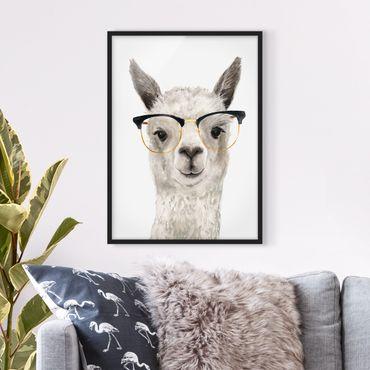 Poster con cornice - Hip Lama Con Gli Occhiali I - Verticale 4:3