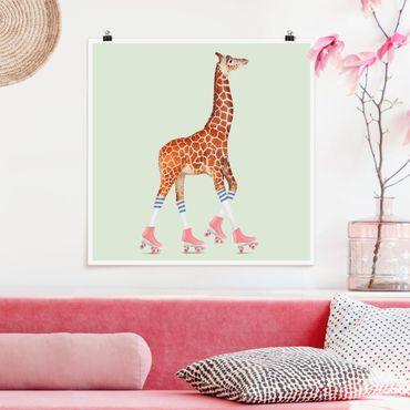 Poster - Giraffa con Pattini a rotelle - Quadrato 1:1