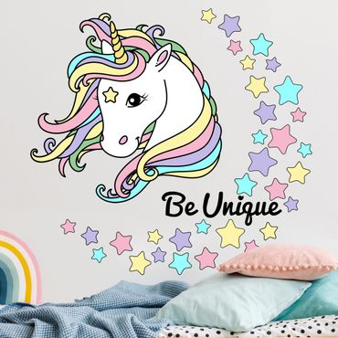 Adesivo murale - Illustrazione Unicorn Be Unique pastello