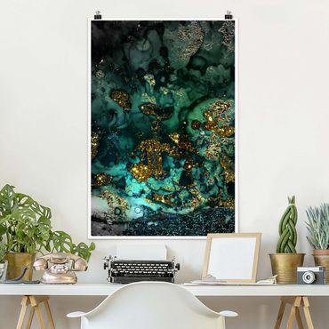 Poster - Oro Isole del Mar astratta - Verticale 3:2