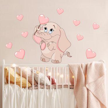Adesivo murale bambini - Baby elefantino rosa con cuori