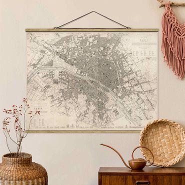 Foto su tessuto da parete con bastone - Vintage mappa di Parigi - Orizzontale 3:4