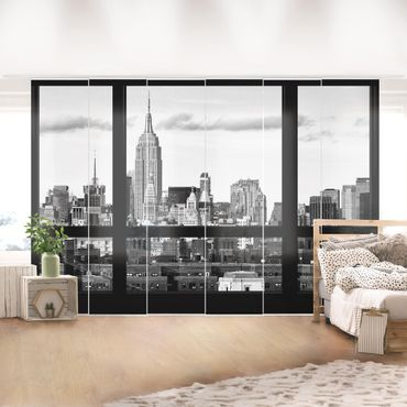 Tende scorrevoli set - Windows View New York Skyline Black