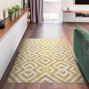 Tappeti in vinile - Mix geometrico di piastrelle Art déco in marmo dorato - Verticale 2:3