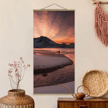 Foto su tessuto da parete con bastone - golden Sunset - Verticale 2:1