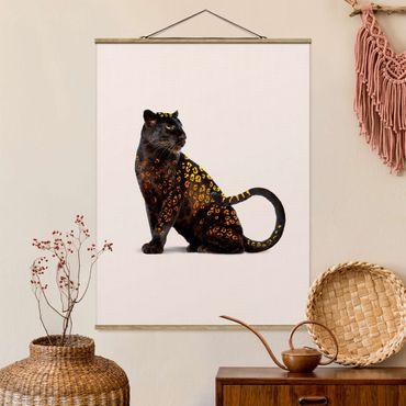 Foto su tessuto da parete con bastone - Panthers d'oro - Verticale 4:3