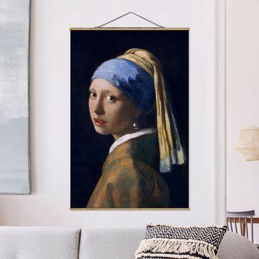 Foto su tessuto da parete con bastone - Jan Vermeer van Delft - Ragazza con l'orecchino di perla - Verticale 3:2