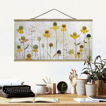 Foto su tessuto da parete con bastone - Delicato Helenium Fiori - Orizzontale 1:2