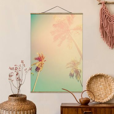 Foto su tessuto da parete con bastone - Piante tropicali palme al tramonto III - Verticale 3:2