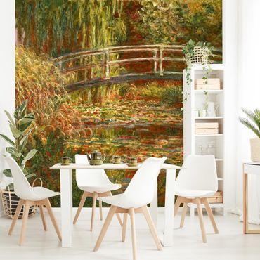Carta da parati adesiva - Claude Monet - Lo stagno delle ninfee e Ponte giapponese (Armonia in rosa)- Formato quadrato