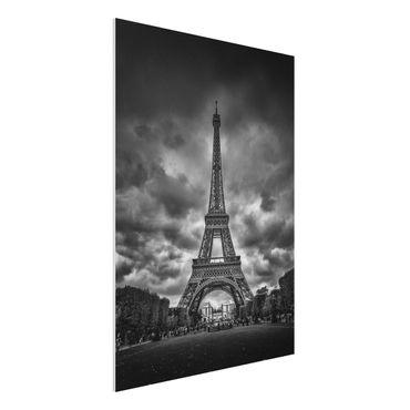 Quadro in forex - Torre Eiffel Davanti Nubi In Bianco e nero - Verticale 3:4