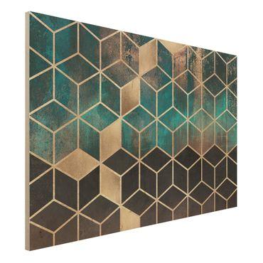 Stampa su legno - Turchese Rosa d'Oro Geometria - Orizzontale 2:3
