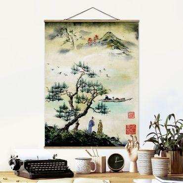 Foto su tessuto da parete con bastone - Giapponese disegno ad acquerello di pino e Mountain Village - Verticale 4:3
