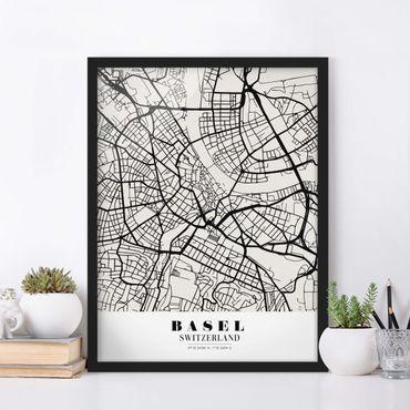 Poster con cornice - Basel City Map - Classic - Verticale 4:3