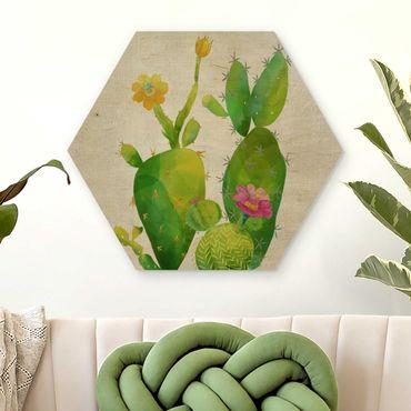 Esagono in legno - Cactus Famiglia, Rosa, Giallo