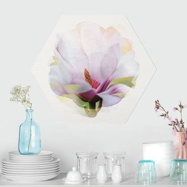 Esagono in forex - Acquarelli - Delicato Fiore di Magnolia