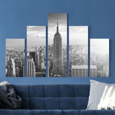 Stampa su tela 5 parti - Manhattan skyline
