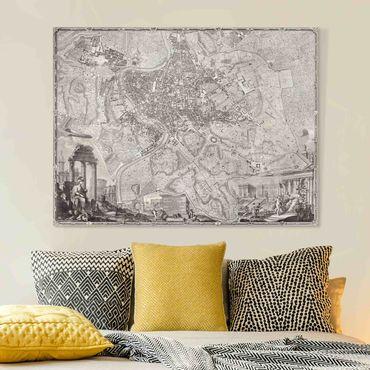 Stampa su tela - Vintage Mappa Roma - Orizzontale 3:4