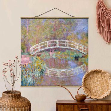 Foto su tessuto da parete con bastone - Claude Monet - Giardino del Ponte di Monet - Quadrato 1:1