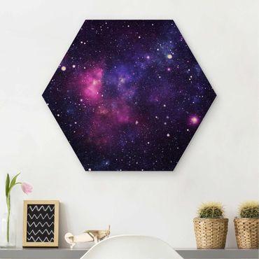 Esagono in legno - galassia