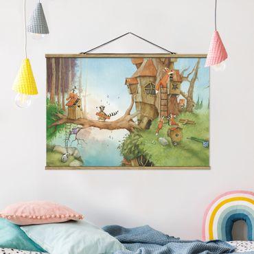 Foto su tessuto da parete con bastone - Procione Wassili - Wassili e la famiglia Fuchs