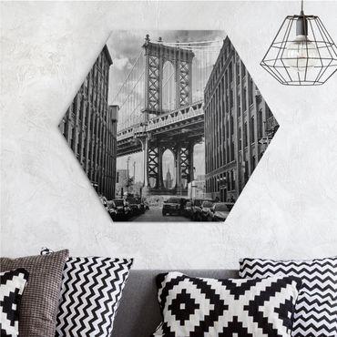 Esagono in Alu-dibond - skyline di Manhattan
