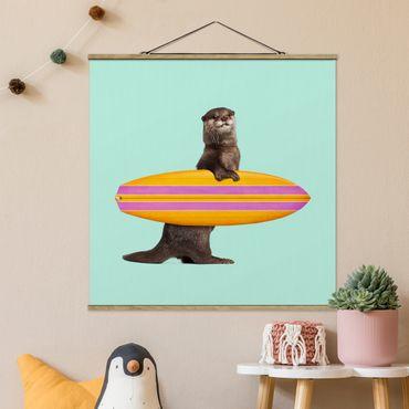 Foto su tessuto da parete con bastone - Lontra con il surf - Quadrato 1:1
