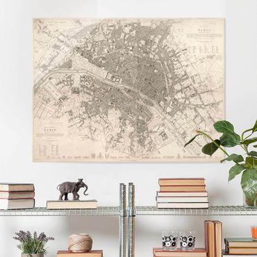 Quadro in vetro - Vintage mappa di Parigi - Orizzontale 3:4