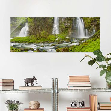 Quadro in vetro - Waterfalls Cascade De Flumen - Panoramico