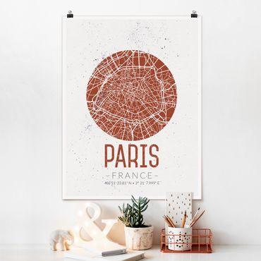Poster - Mappa Paris - Retro - Verticale 4:3