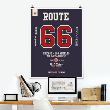 Poster - Route 66 - migliori piloti scuro - Verticale 4:3